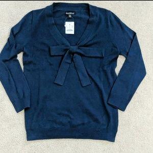 Navy J Crew merchantile bow neck sweater size XS